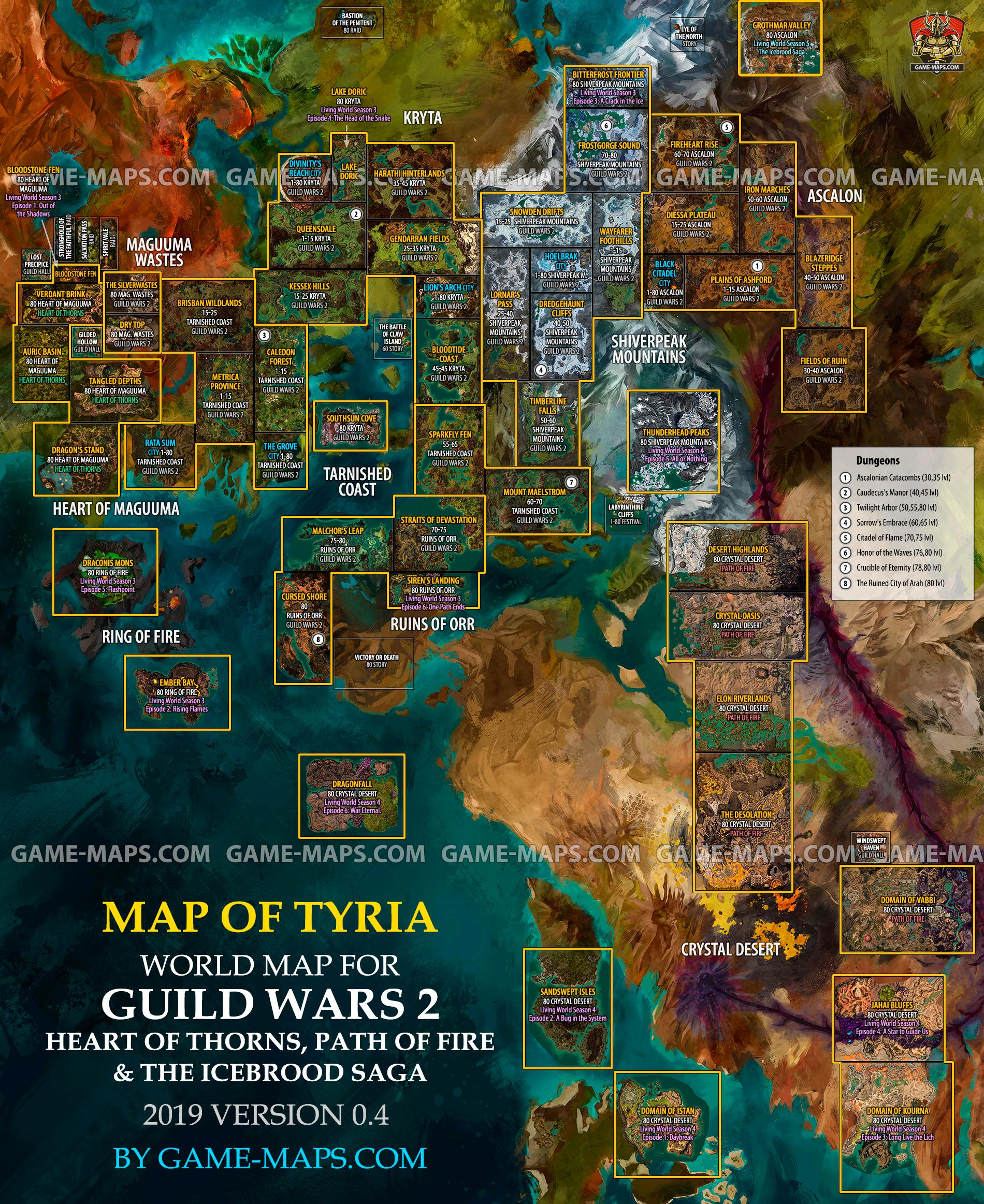 Guild Wars 2 World Map   Zones, Cities, Dungeons, levels. | game