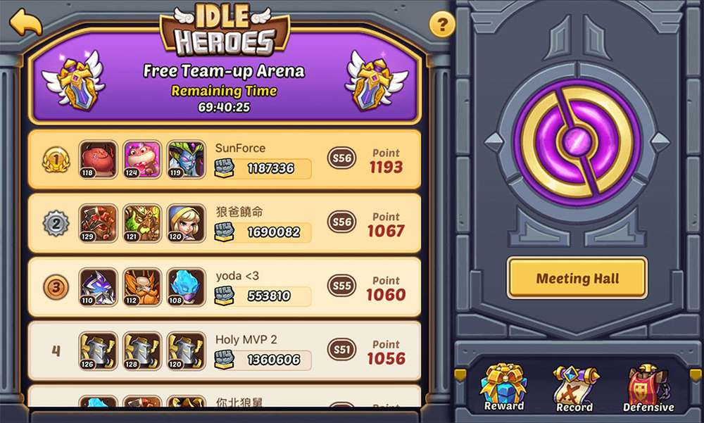 Idle Heroes Free Team-up Arena - Meeting Hall before you select Team.