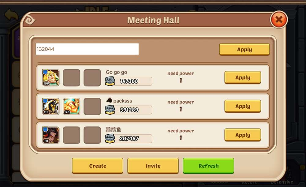 Idle Heroes Free Team-up Arena - Meeting Hall Select Your Team