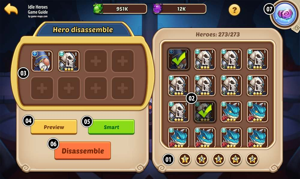 Altar / Hero disassemble in Idle Heroes | game-maps com