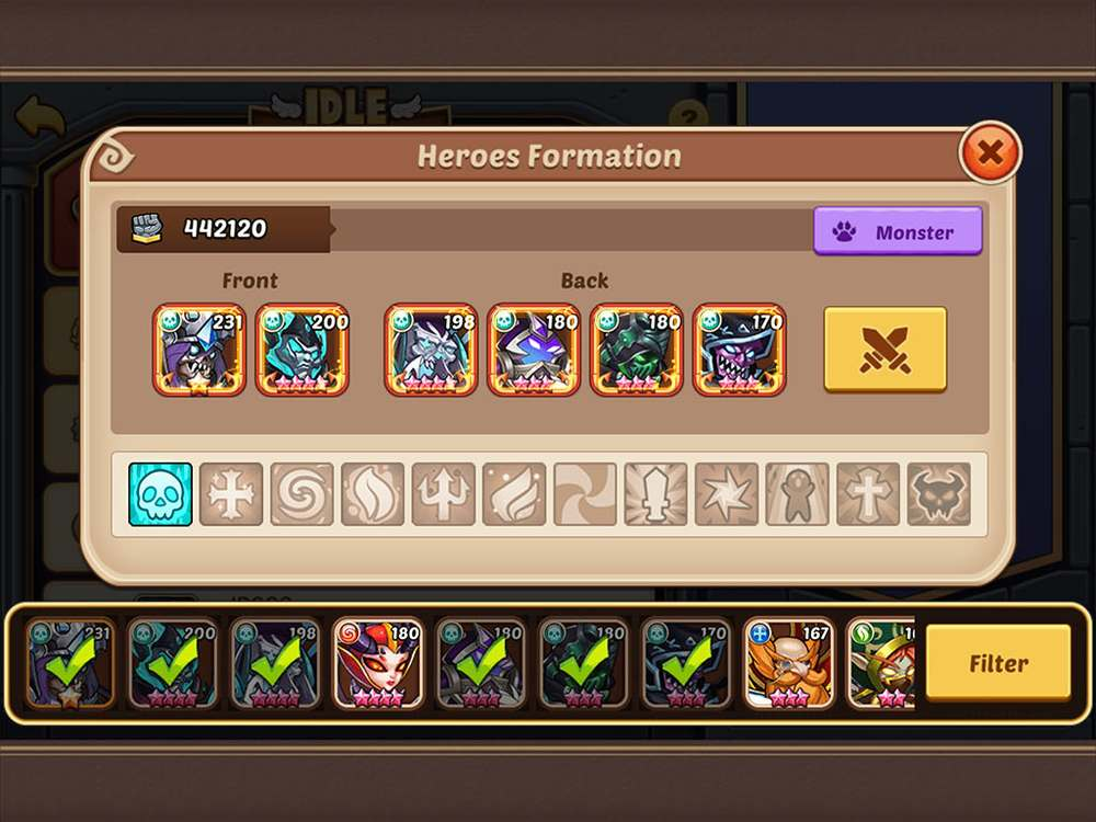 Idle Heroes Battle Formation