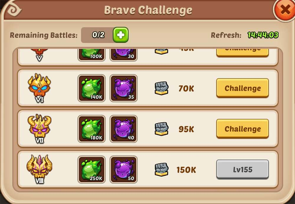Idle Heroes Brave Challenge