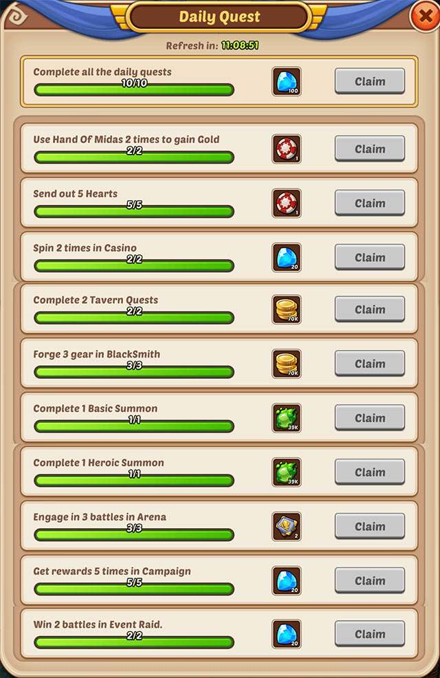 Daily Quests in Idle Heroes