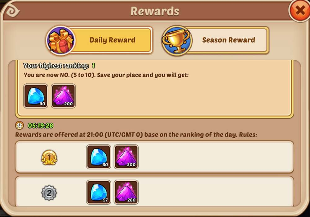 Idle Heroes Daily Rewards