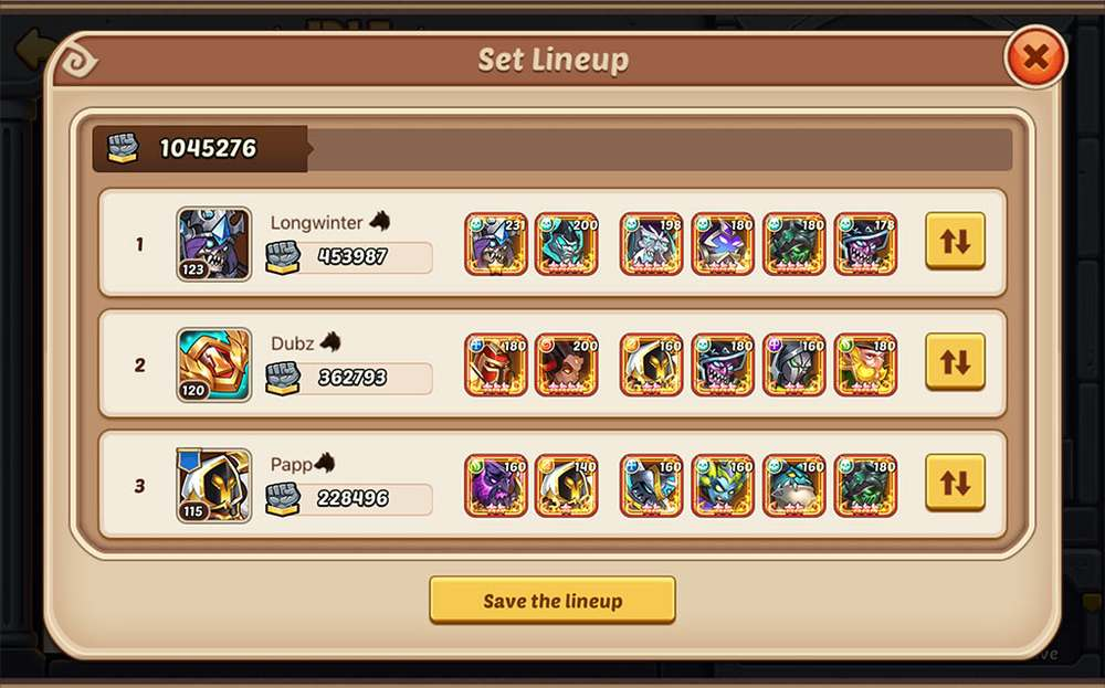 Idle Heroes Free Team-up Arena Set Lineup