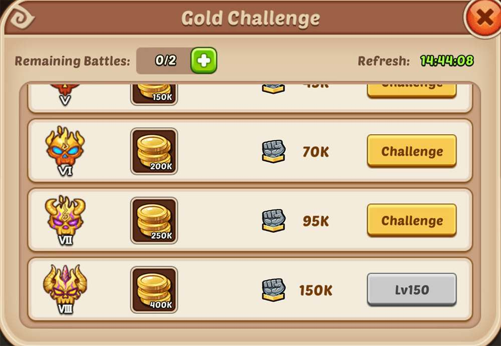 Idle Heroes Gold Challenge
