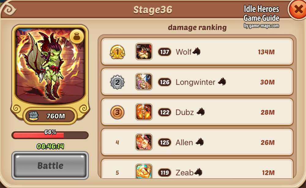 Idle Heroes Guild Raid Ranking