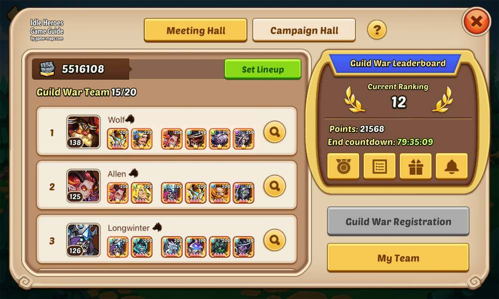 Guild War in Idle Heroes | game-maps com
