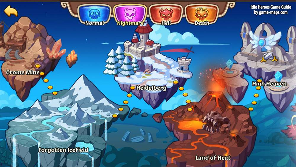 Area Map and Difficulty Levels Idle Heroes Game Guide