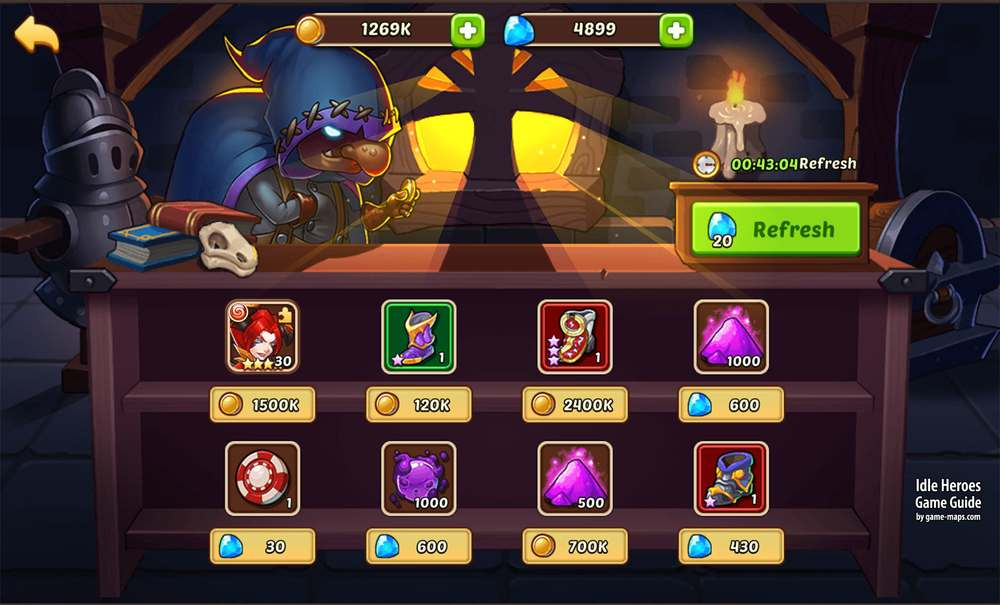 Marketplace in Idle Heroes | game-maps com