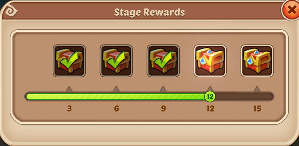 Idle Heroes Brave Trial Stage Rewards.