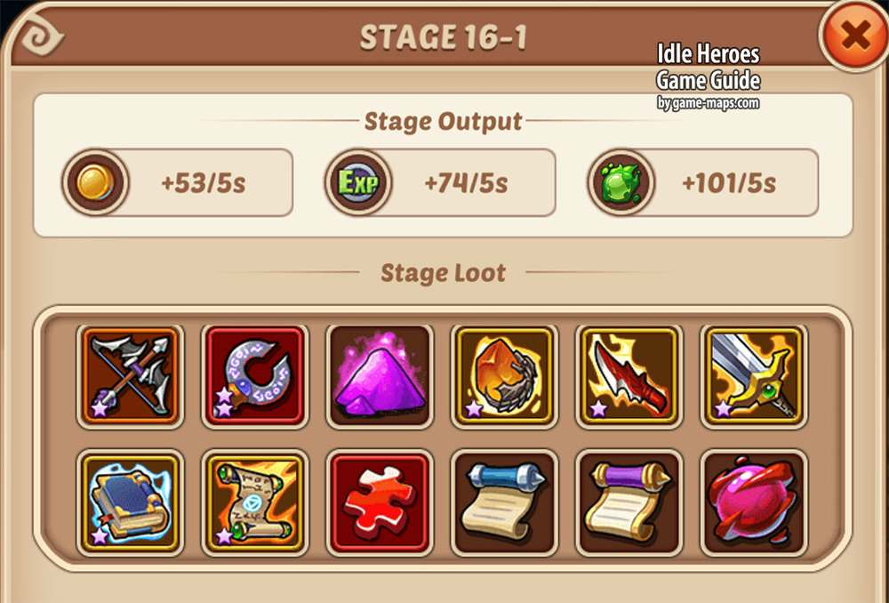 Possible Loot for current Stage Idle Heroes Game Guide