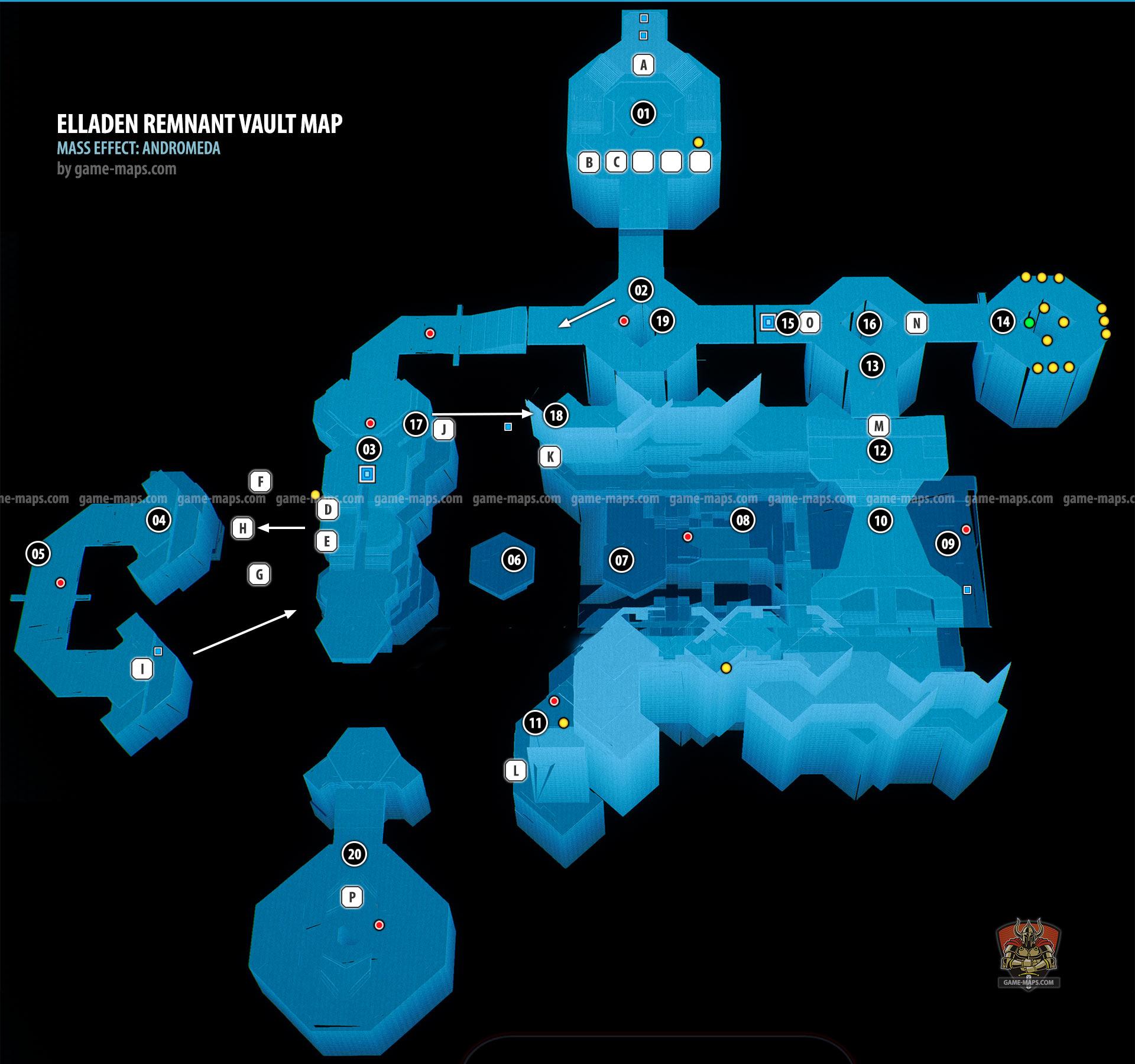 Elaaden Remnant Vault Walkthrough Map Mass Effect Andromeda