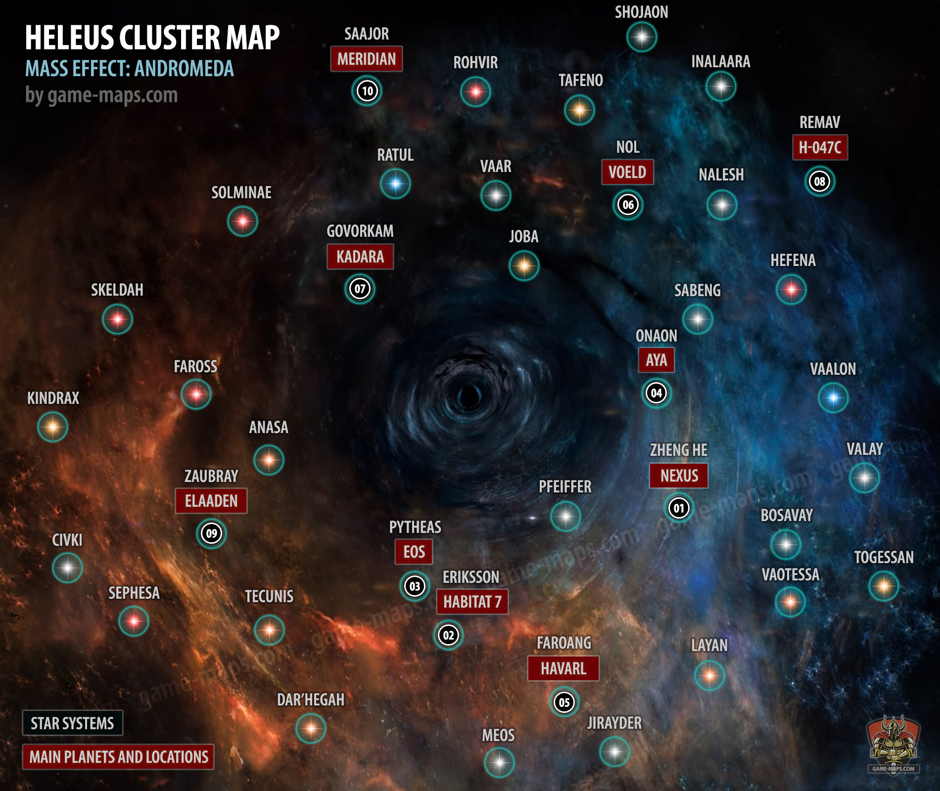 Mass Effect Andromeda Star Map.Heleus Cluster Map Mass Effect Andromeda Game Maps Com