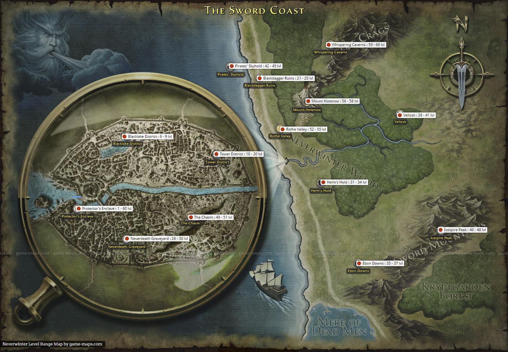 Neverwinter Level Range Map   game-maps.com on
