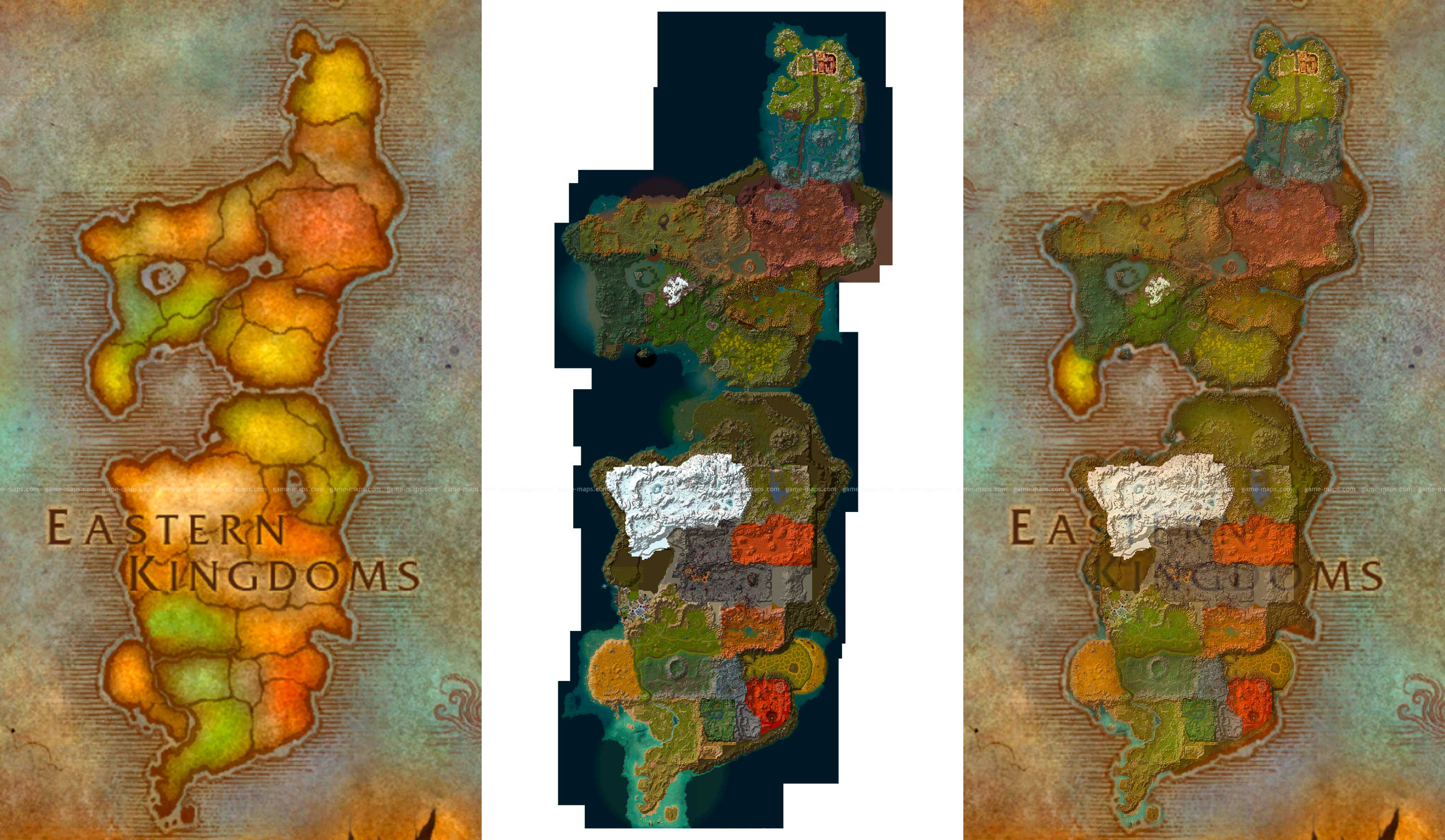 Eastern Kingdoms Map from World of Warcraft | game-maps.com