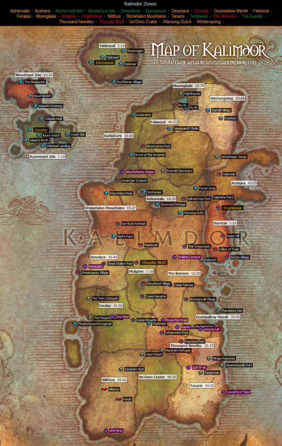 Kalimdor Map From World Of Warcraft Game Maps Com