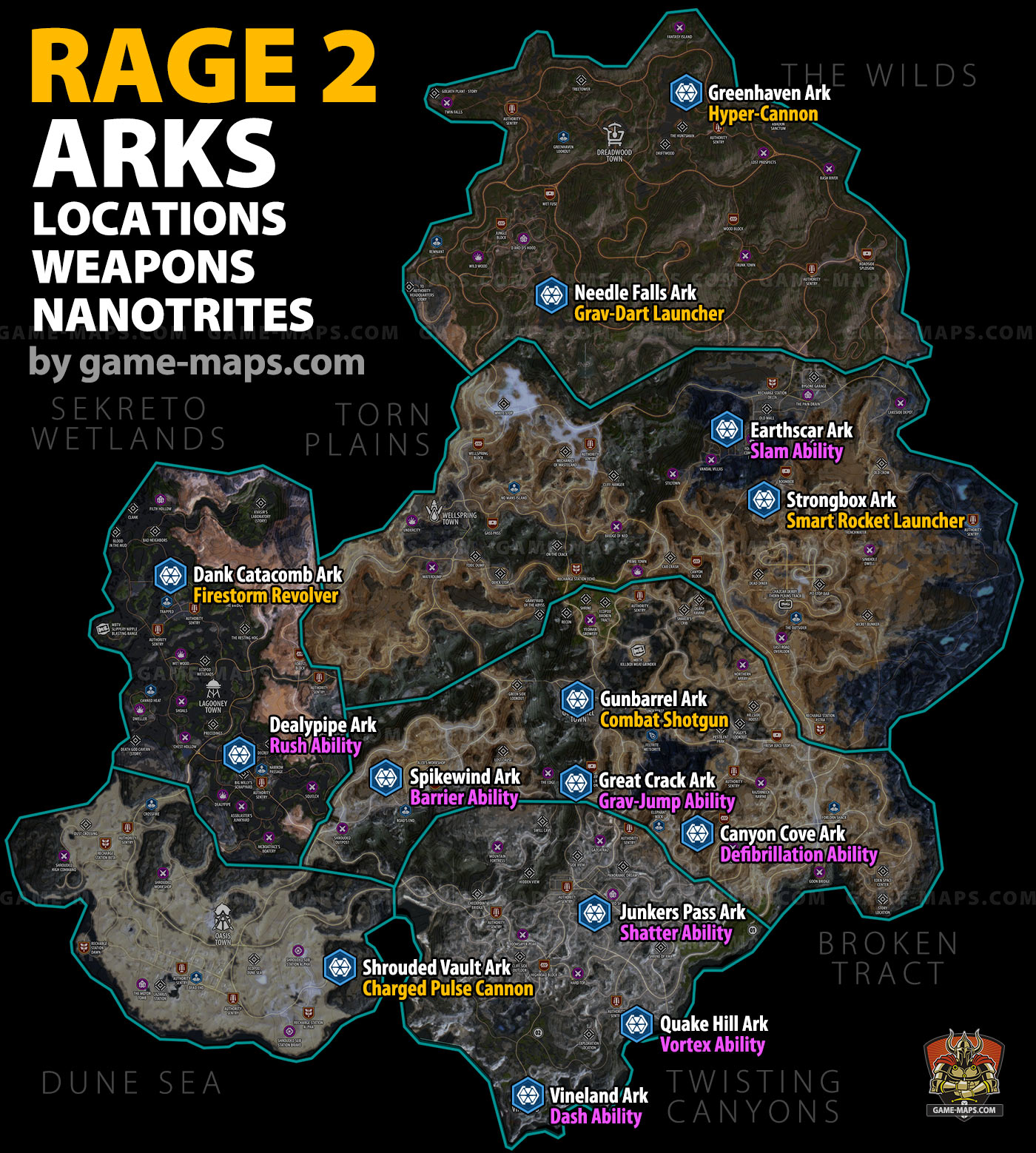 Rage 2 Arks: Locations, Weapons and Nanotrites   game-maps.com Map Of Ark on map of butterfly, map of ray, map of callaway, map of greenbrier county, map of ane, map of ar, map of adk, map of scoop, map of arga, map of oklahoma, map of baskerville, map of angel, map of real, map of cranberry wilderness, map of arkansas, map of colonial heights, map of control, map of dinwiddie, map of corbin, map of batesville,