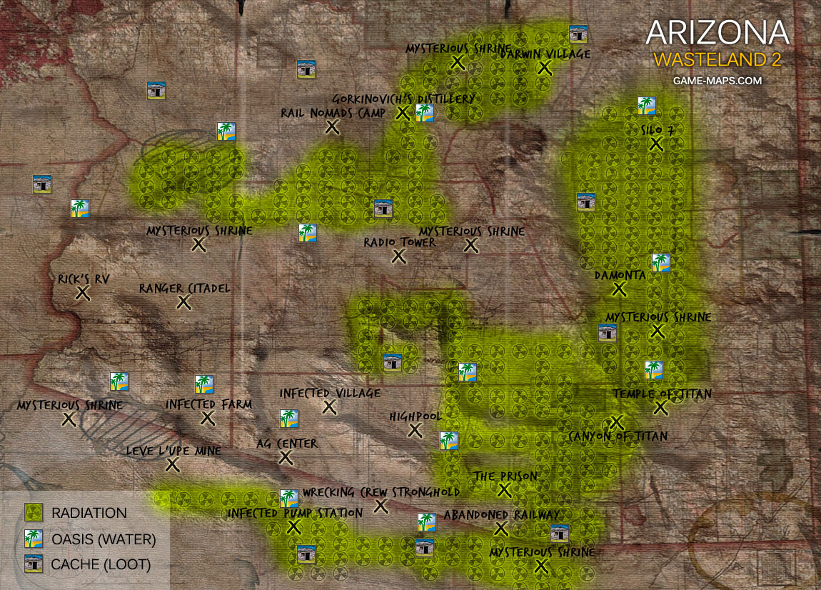 Arizona World Map - Wasteland 2 | game-maps.com