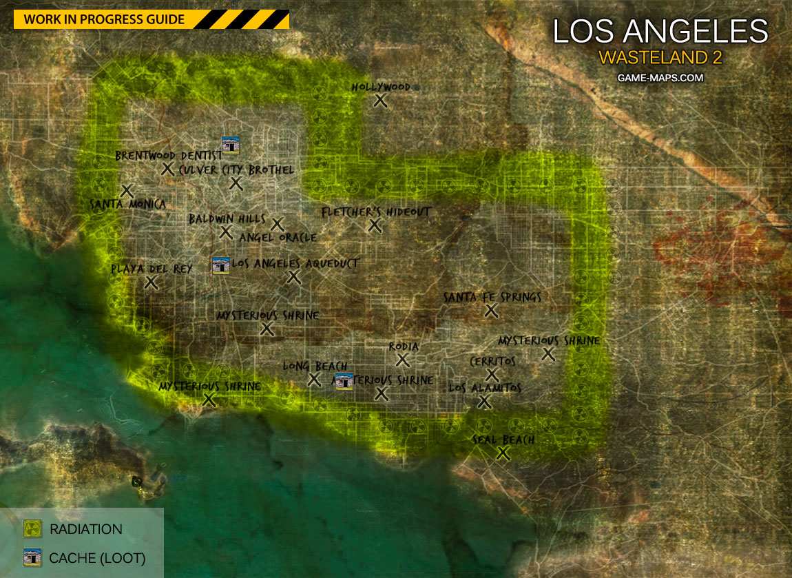 Wasteland Walkthrough Game Guide Maps - World map la