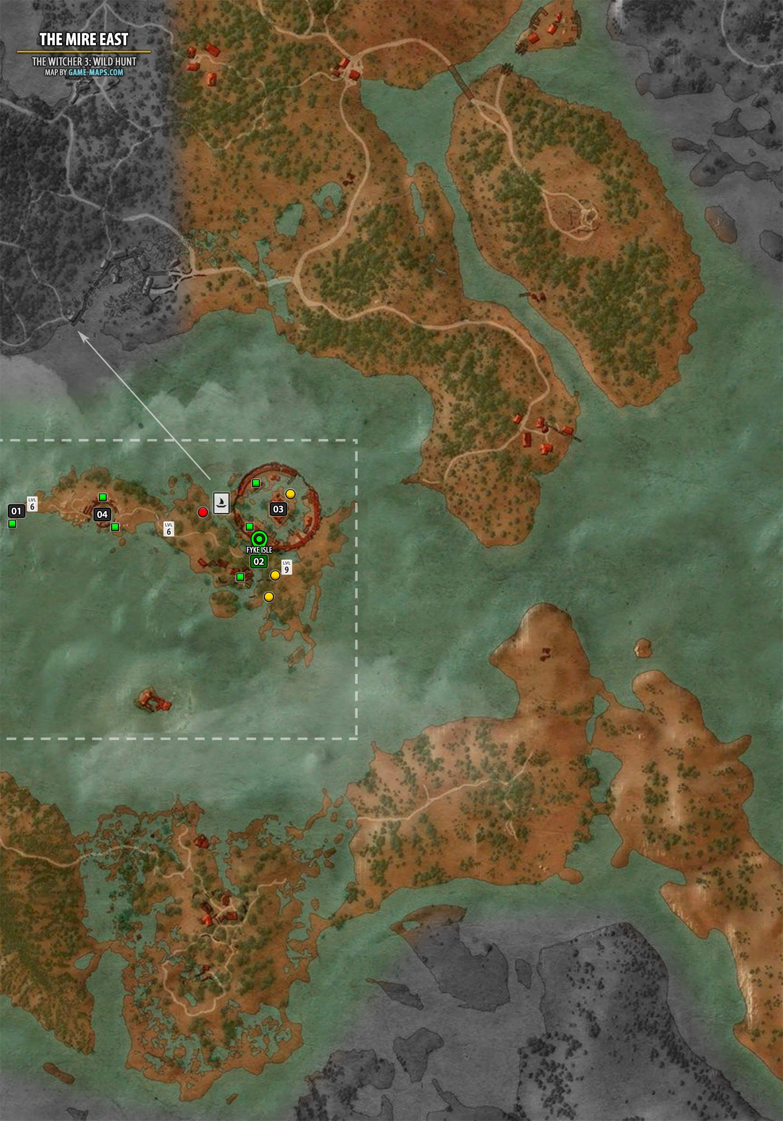 The Mire East Map The Witcher 3 Walkthrough Maps Game Guide