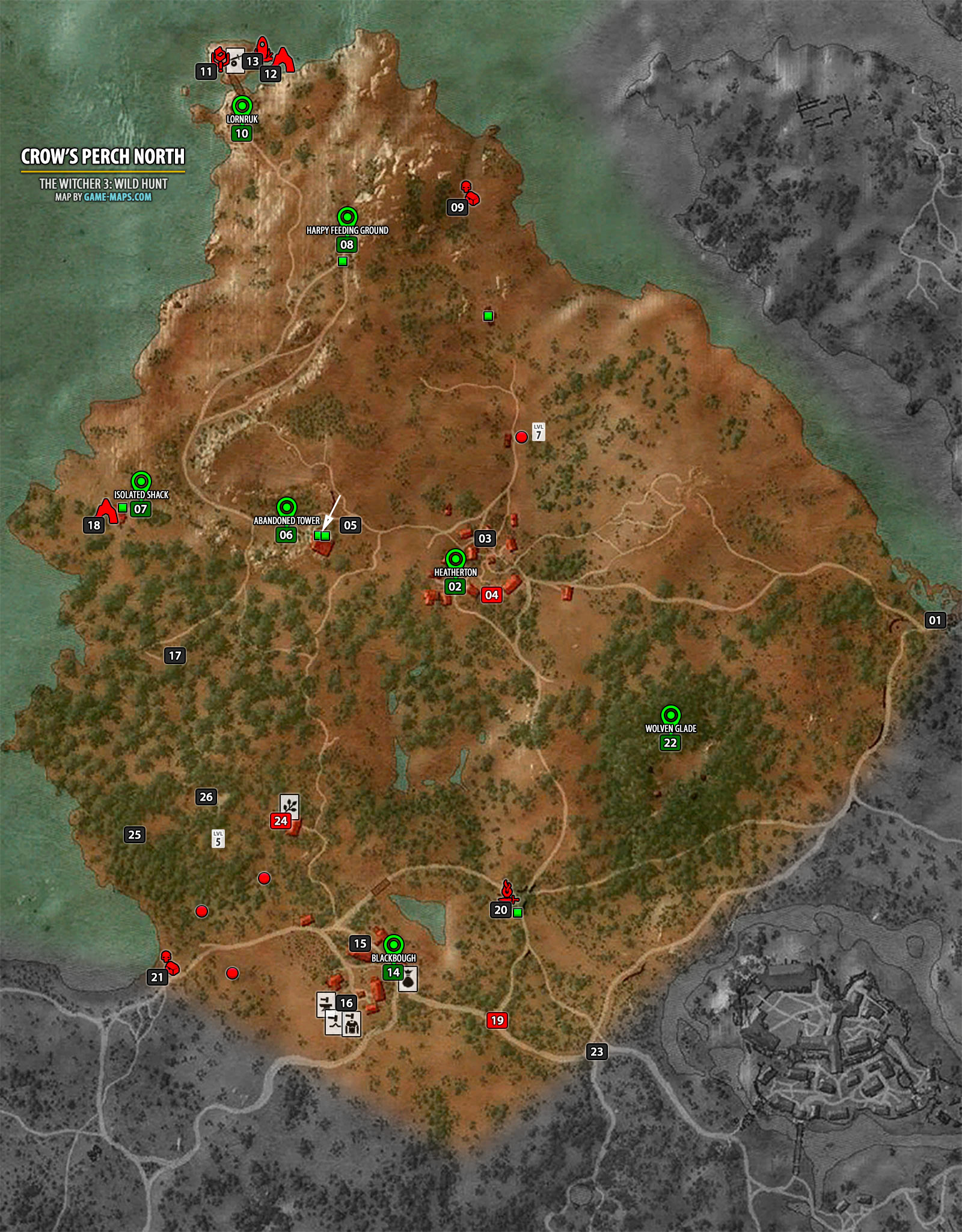 Crow's Perch North Map - The Witcher 3 | game-maps.com on witcher 3 armor sets, witcher 3 all maps, the witcher map detailed, witcher 3 cave of ruins,