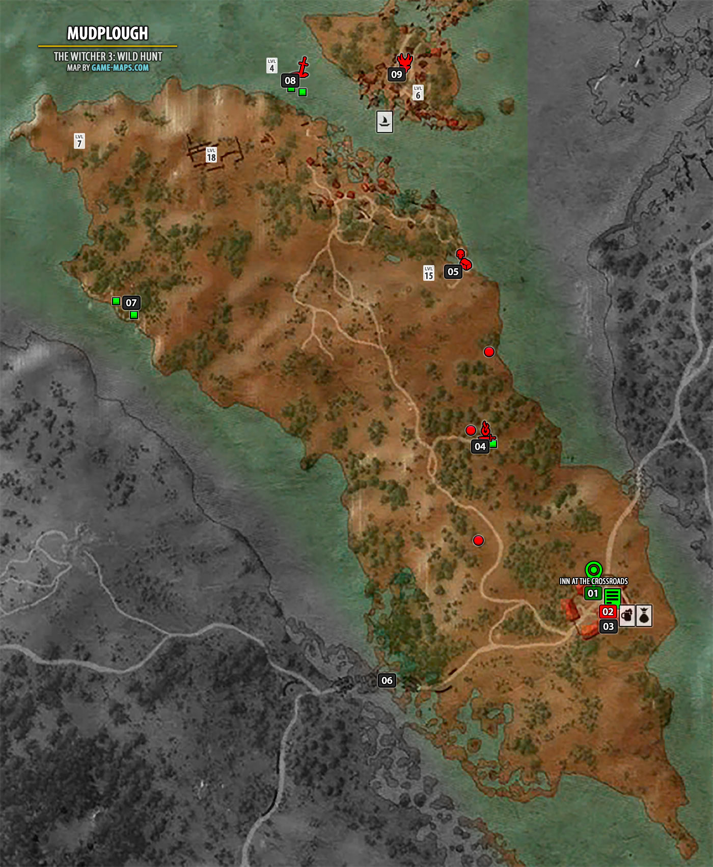 Mudplough Map The Witcher 3 Walkthrough Maps Game Guide