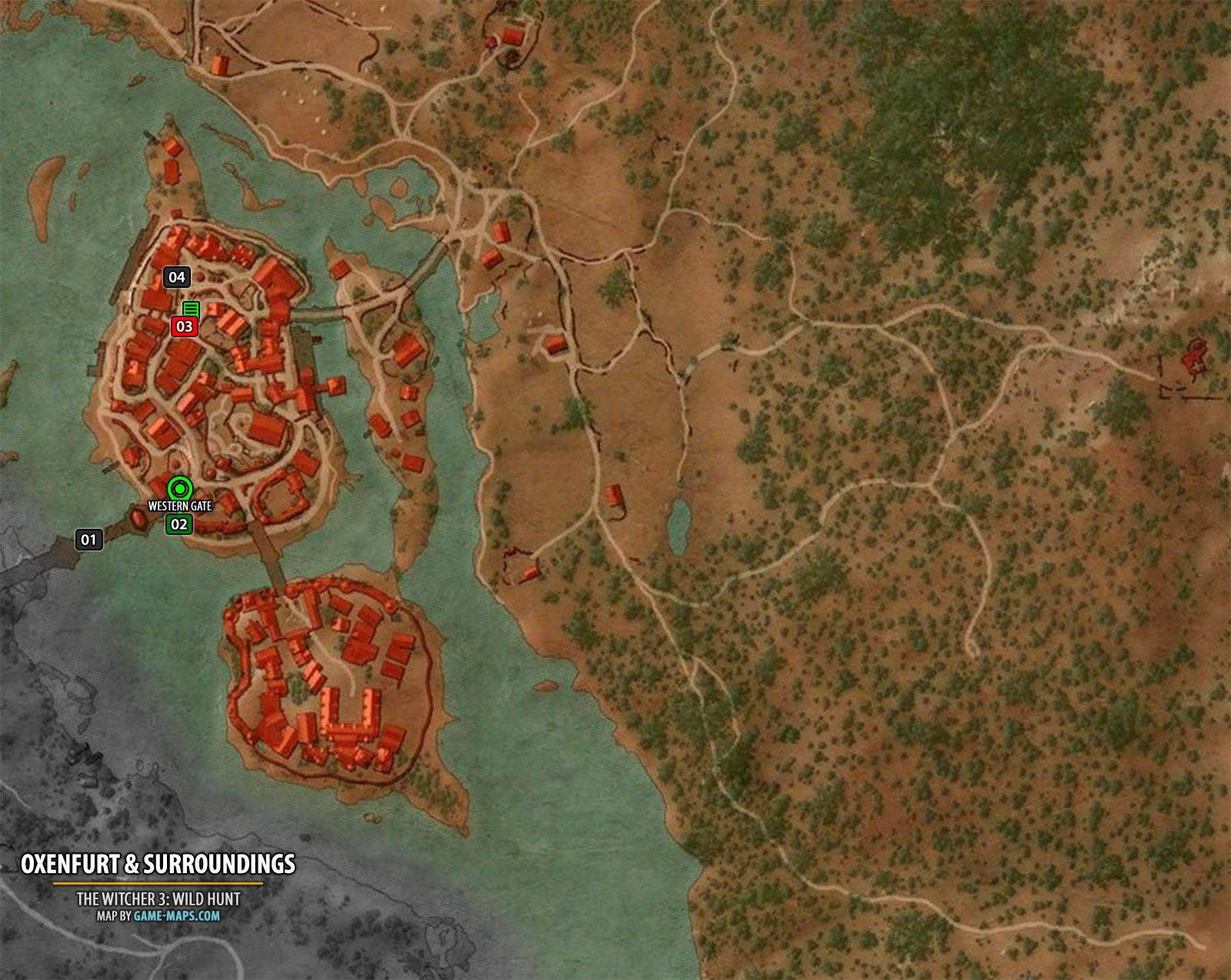 Oxenfurt Surroundings Map The Witcher 3 Walkthrough Maps Gam