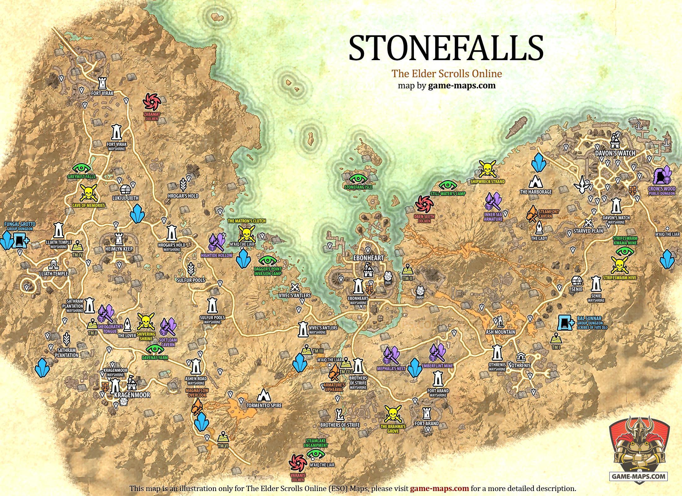 Legendary Rosin Eso Stonefalls Map